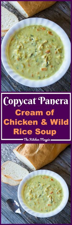 Crockpot/Instant Pot Cream of Chicken & Wild Rice Soup (Panera Copycat). This recipe has no pre-packaged ingredients and is gluten-free! Recipe from @kitchenmagpie #soup #panera #recipe #chicken #dinner
