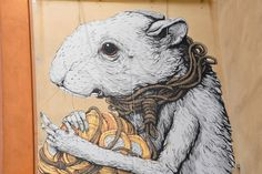 New Ericailcane Mural in Italy – view more (mousy) images @ http://www.juxtapoz.com/Street-Art/new-ericailcane-mural-in-italy# – #streetart #hamster #italy