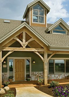 The Melody Lane Timber Frame Home - Front Entrance by Riverbend Timber Framing… Timber Frame Homes, Timber House, Timber Frames, Porch Timber, Timber Door, Metal Building Homes, Building A House, Building Ideas, Exterior House Colors