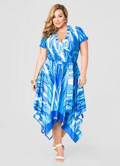 Surplice Hanky Hem Maxi Dress
