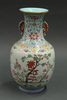 Chinese polychrome enamelled porcelain vase with orange dragon handles, Daoguang mark