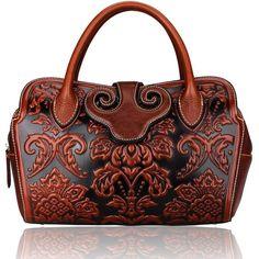 Pijushi Floral Collection Women's Genuine Leather Top Handle Handbag Tote Satchel Cross Body Bag with Adjustable Shoulder Strap Drop 22119 (Brown)