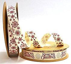 Tilly's Trims Season's Greetings Snowflake 15mm Ribbon Bundle by Bertie's Bows (2 x 5m rolls): Amazon.co.uk: Kitchen & Home
