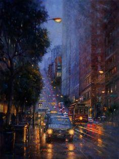 San Francisco Street by Po Pin Lin Rain Photography, Street Photography, Buena Vista San Francisco, City Rain, Rain Art, City Aesthetic, City Painting, Urban Landscape, Aesthetic Wallpapers