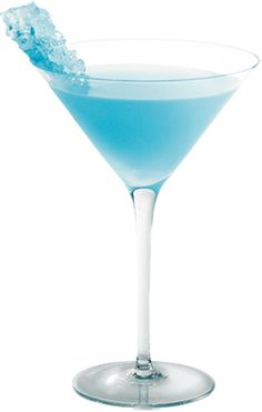 Rock Candy Martini - 2 oz. Hpnotiq 1 oz. Vodka Splash of Pineapple Juice 1 Blue Rock Candy.   Mix ingredients, shake well, and pour into martini glass.  Add the rock candy stick for a fun decoration.***
