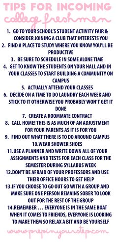Prep In Your Step: Tips For Incoming College Freshmen. College Dorm Checklist For Freshman School Life Hacks, College Life Hacks, College List, College Years, Freshman Year, School Tips, College Dorms, College Invest, Dorm List