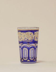 Blue & Gold Moroccan Tea Glasses- Set of 6 Moroccan Room, Moroccan Furniture, Moroccan Lighting, Tea Glasses, Welcome Drink, Mint Tea, Blue Gold, Shot Glass, Artisan
