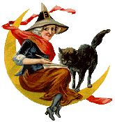 Vintage witch in moon