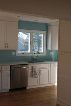Kitchen: F Blue Ground Kitchen Dinning Room, Kitchen Walls, New Kitchen, Kitchen Ideas, Dining, Blue Rooms, Blue Walls, House Color Schemes, House Colors