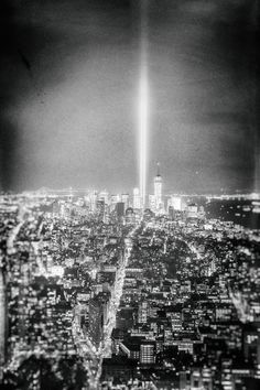 New York City - Tribute in Light - World Trade Center and New York City skyline at night on September 11