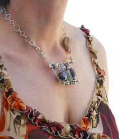 Spring safety pins necklace silver brown and grey by lillicose, $28.00