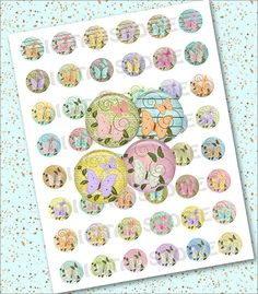 Digital Collage Sheet BUTTERFLIES CIRCLE 1 INCH by DigitalStories, €2.60