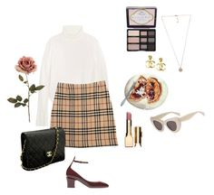 """""""roses."""" by sashashxo ❤ liked on Polyvore featuring Chloé, Burberry, Valentino, Too Faced Cosmetics, Michael Kors, Chanel and Clarins"""