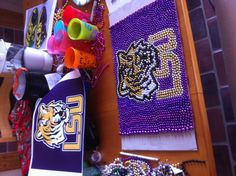 LSU - Mardi Gras bead art - pretty cool for placemats.