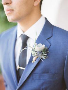 Succulent & thistle bout on a blue suit
