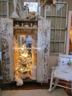 The mirror inside the armoire softly reflects the lights of the little Christmas tree. Antqs Vintage, wow love this idea, Caron Christmas Booth, Christmas Open House, Little Christmas Trees, Cozy Christmas, Country Christmas, All Things Christmas, Vintage Christmas, Christmas Holidays, Christmas Decorations