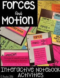 Force and Motion Interactive Notebook Activities fourth and fifth grade -The Meaningful Middle-