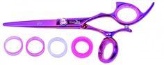 Shark Fin Hair Shears Professional Line Titanium Right Handed Swivel Pink Shear 5.5 Inches + Bella Via Hair Glitz Shimmering Hair Tinsel the Hottest Trend in Hair Accessories