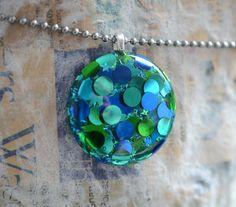 Resin Jewelry Polka Dot Resin Pendant Hand by keepthesugar