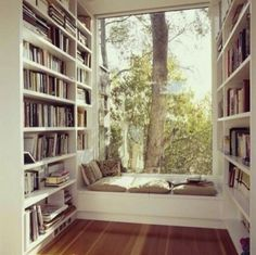 Reading Nooks. Imagine this with snow falling, a hot cup of cocoa or tea, and the book that's been calling your name.
