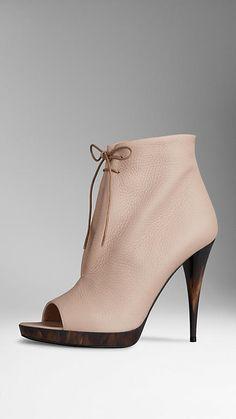 Deerskin Peep-Toe Ankle Boots | Burberry