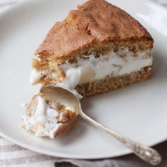 A taste of the Amalfi coast: hazelnut sponge caked filled with light-as-a-cloud ricotta and pear filling. Italian Desserts, Just Desserts, Cake Recipes, Dessert Recipes, Ricotta Cake, Pear Cake, Hazelnut Cake, Food 52, Let Them Eat Cake