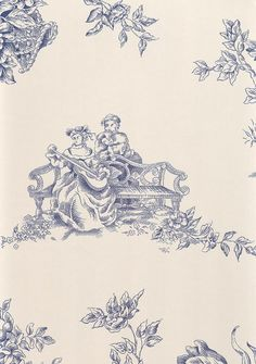 English toile Wallpaper Blue toile design wallpaper on beige