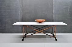 Vintage Industrial Vitrolite/Milk Glass Slab Table, on Collapsible Steel Framed Base on Casters.