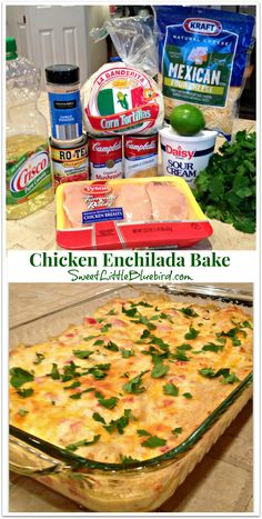 "Chicken Enchilada Bake - so delicious, loaded with flavor! When my 16 year old said, ""This tastes like it came from a restaurant!"" I knew it was good! 