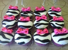 zebra cupcakes for Mad's bday