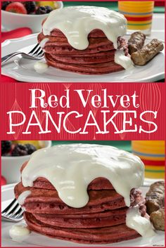 Get into the holiday spirit by making these Red Velvet Pancakes topped with cream cheese!