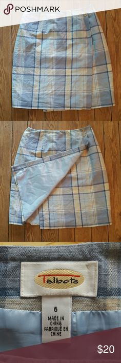 💕Talbots Wrap Skirt💕 Super cute and preppy wrap skirt. Blue and cream plaid.   Gently used but in great condition. Talbots Skirts A-Line or Full