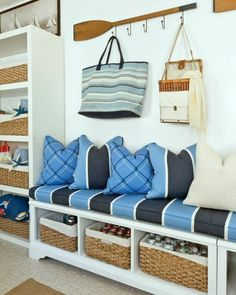 Nautical Entryway Ideas with Wardrobes... http://www.completely-coastal.com/2016/10/simple-entryway-storage-ideas-with-benches.html