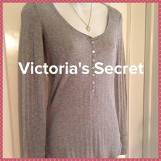 """P. S. ... It's V.S."" Soft and cuddly sweater❄️ Soft and oh so sweet sweater from Victoria's Secret! A very light weight , slightly ribbed knit sweater in a pretty light grey with silver metallic weave color. Sleeves have cuffs. Sweet little buttons down the front. Great for those cool days! Victoria's Secret Sweaters"