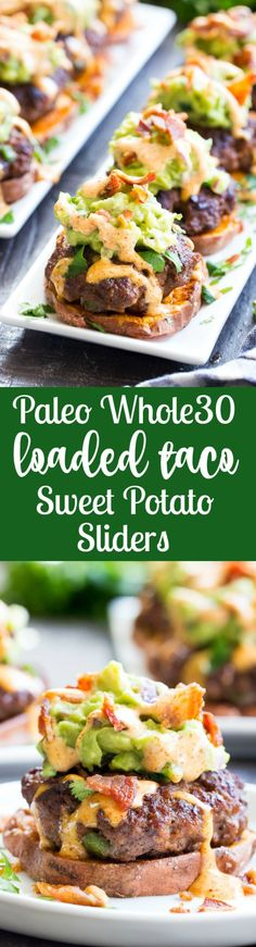 """These sweet potato sliders are loaded with goodies! Taco seasoned burger patties over roasted sweet potato """"buns"""" topped with an easy guacamole chipotle ranch and crumbled bacon. Perfect as an appetizer party food or a fun meal! Paleo and com Paleo Recipes, Real Food Recipes, Cooking Recipes, Bulgur Recipes, Kitchen Recipes, Clean Recipes, Cooking Tips, Snacks Für Party, Appetizer Party"""
