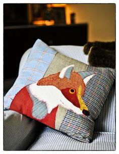 Carola Van Dyke LTD - - Applique Cushions, Applique Fabric, Machine Embroidery Applique, Wool Pillows, Diy Pillows, Wool Quilts, Baby Quilts, Fox Crafts, Cushions To Make