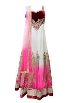 EXQUISITE PINK AND WHITE ANARKALI DRESS