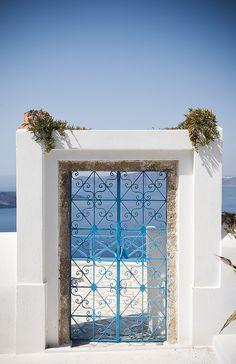 Blue Gate in Fira, Santorini , Greece
