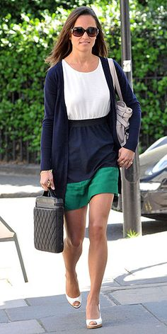 Pippa in London, sporting a Zara sundress, navy cardigan and her trusty L.K. Bennett bag