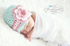 Girls Hat, Newborn Hat, Baby Girl Hat, Child Crochet Hat, Robins Egg Blue, White and Pink Flower Beanie Baby Hat, Newborn Photography Prop on Etsy, $18.50