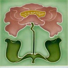 Art Tile, Art Nouveau Flower, Pink, Yellow, and Green on Light Green