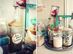 Display beach trinkets — from sand to shells — in clear glass bottles