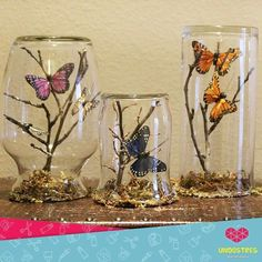 Easy and Fun Valentines Crafts for Kids to Make – Paper Butterfly Origami Art Butterfly Tree, Butterfly Crafts, Butterflies, Mason Jar Crafts, Bottle Crafts, Butterfly Centerpieces, Diy Butterfly Decorations, Deco Nature, Fairy Jars