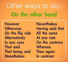 Saying 'on the other hand' differently.