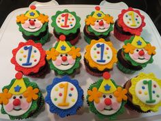 Clown And 1 Cupcake Toppers To Go With A Circus Theme Cake For My Grandsons First Birthday Thank You For Looking Circus Theme Cupcakes, Carnival Cupcakes, Circus Cupcakes, Circus Cookies, Carnival Themed Party, Carnival Birthday Parties, Circus Birthday, Themed Cupcakes, First Birthday Cakes