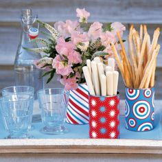 Wrap cans with Red/White/Blue Cardstock for Display