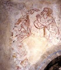 mediaeval farmhouse interior -Bledlow parish church mediaeval wall painting of Adam and Eve.