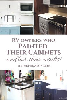 Want to see pictures of painted cabinets before deciding whether or not to do it yourself? Take a look at these campers, travel trailers, & motorhomes. Rv Cabinets, Laminate Cabinets, Nuvo Cabinet Paint, Paint Rv, Caravan Renovation, Diy Rv, Camper Makeover, Camper Life, Rv Life