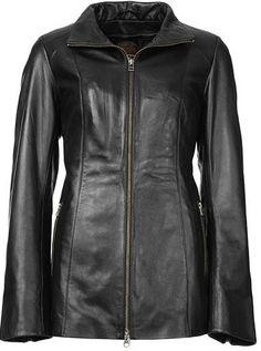 Women black leather jacket coat women long by Myleatherjackets, $169.99
