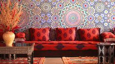 Bold color in a sitting room at the Eden Andalou in Marrakech, Morocco